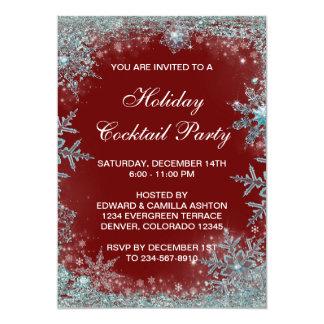 Fiesta de Navidad azul del copo de nieve del Invitación Personalizada