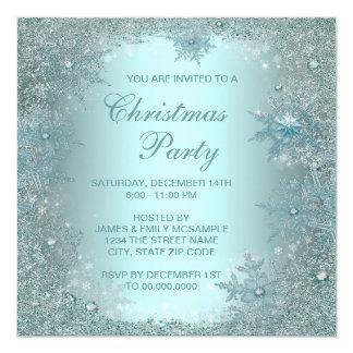 Fiesta de Navidad azul del copo de nieve del Invitaciones Personalizada