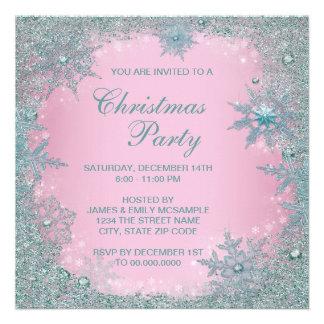 Fiesta de Navidad azul del copo de nieve del trull Invitaciones Personalizada