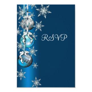 Fiesta de Navidad azul RSVP de los ornamentos de Invitación 8,9 X 12,7 Cm