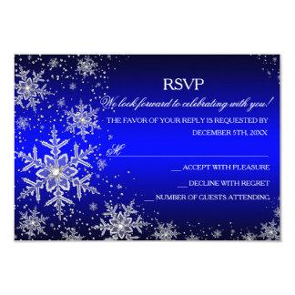 Fiesta de Navidad azul RSVP del copo de nieve de