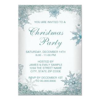 Fiesta de Navidad azul RSVP del copo de nieve del Invitación 8,9 X 12,7 Cm