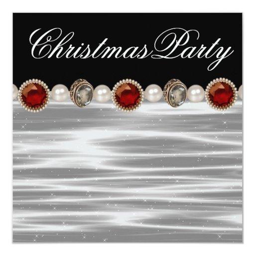 """Fiesta de Navidad blanca negra roja del oro Invitación 5.25"""" X 5.25"""""""