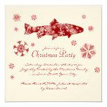 Fiesta de Navidad blanca y roja festiva de los Invitación 13,3 Cm X 13,3cm