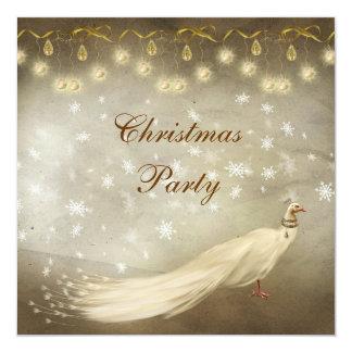 Fiesta de Navidad con clase del pavo real blanco Invitación