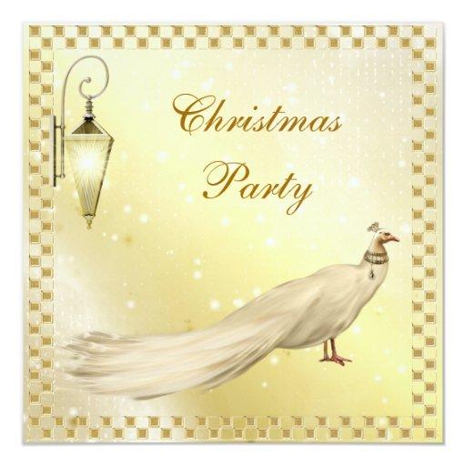 """Fiesta de Navidad con clase del pavo real blanco Invitación 5.25"""" X 5.25"""""""