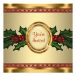 Fiesta de Navidad corporativa del acebo rojo del o Invitacion Personalizada