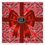 Fiesta de Navidad corporativa del damasco rojo de  Invitacion Personalizada