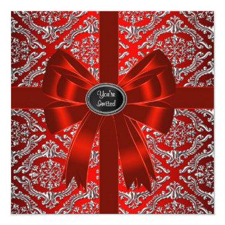 """Fiesta de Navidad corporativa del damasco rojo de Invitación 5.25"""" X 5.25"""""""