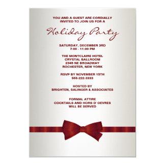 Fiesta de Navidad corporativa roja de marfil de la Invitación 12,7 X 17,8 Cm