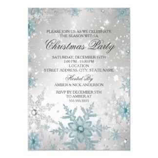 """Fiesta de Navidad cristalina azul y de plata del Invitación 5"""" X 7"""""""