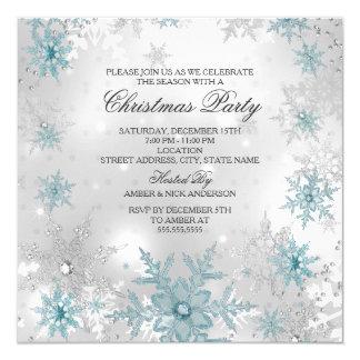 """Fiesta de Navidad cristalina de plata azul del Invitación 5.25"""" X 5.25"""""""