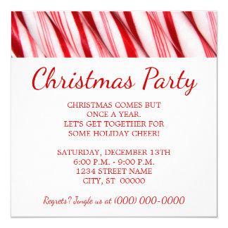 """Fiesta de Navidad de los bastones de caramelo Invitación 5.25"""" X 5.25"""""""