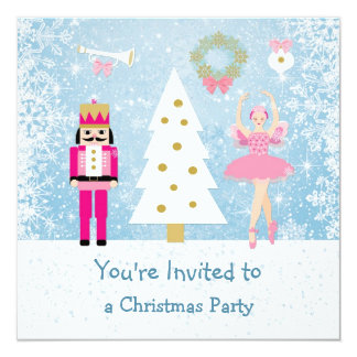 """Fiesta de Navidad de los niños - árbol, bailarina, Invitación 5.25"""" X 5.25"""""""