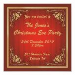 Fiesta de Navidad de lujo del rojo y del oro Invitación 13,3 Cm X 13,3cm