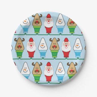 Fiesta de Navidad de Papá Noel, de Rudolf y del Plato De Papel De 7 Pulgadas