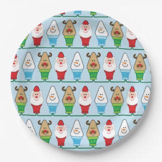 Fiesta de Navidad de Papá Noel, de Rudolf y del Plato De Papel De 9 Pulgadas