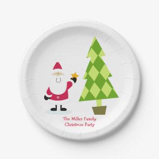 Fiesta de Navidad de Papá Noel y del árbol de Plato De Papel De 7 Pulgadas