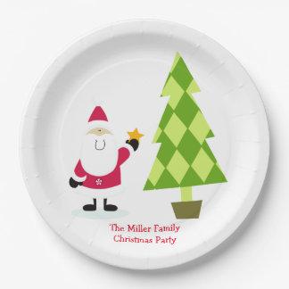 Fiesta de Navidad de Papá Noel y del árbol de Plato De Papel De 9 Pulgadas