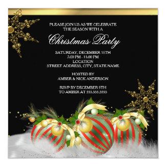 Fiesta de Navidad de plata roja 2 de las Invitacion Personal