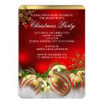 Fiesta de Navidad de plata roja 3 de las Invitación Personalizada