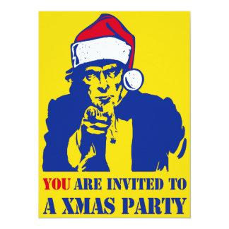 """Fiesta de Navidad de Uncl Sam Invitación 5.5"""" X 7.5"""""""