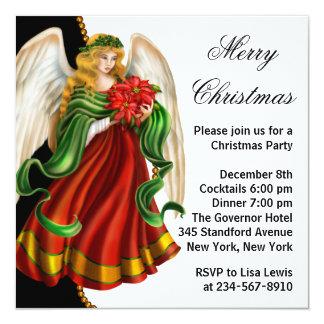 """Fiesta de Navidad del ángel del navidad Invitación 5.25"""" X 5.25"""""""