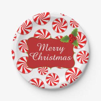 Fiesta de Navidad del caramelo de hierbabuena Platos De Papel