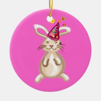 Fiesta de Navidad del conejito Ornamento De Navidad