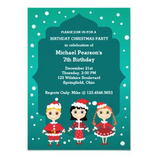 Fiesta de Navidad del cumpleaños de los niños Invitación 11,4 X 15,8 Cm