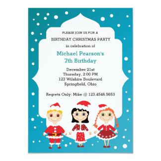 Fiesta de Navidad del cumpleaños del niño Invitación 11,4 X 15,8 Cm