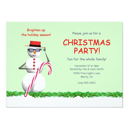 """Fiesta de Navidad del muñeco de nieve del día de Invitación 5.5"""" X 7.5"""""""