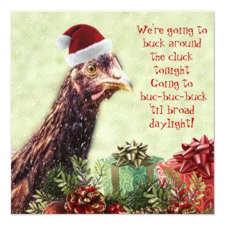 """Fiesta de Navidad del pollo de Santa de la granja Invitación 5.25"""" X 5.25"""""""