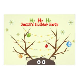 """Fiesta de Navidad del reno de la familia Invitación 5"""" X 7"""""""