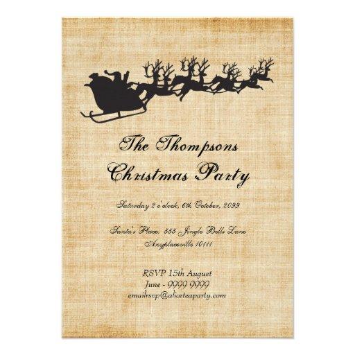 Fiesta de Navidad del reno del trineo de Santa del Invitaciones Personales