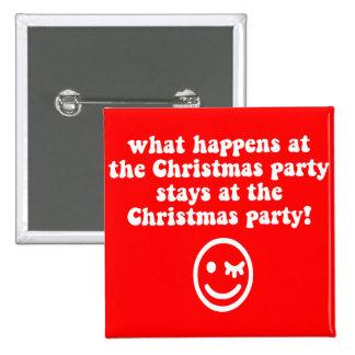 Fiesta de Navidad divertida Pin Cuadrado
