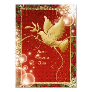 """Fiesta de Navidad elegante de los remolinos de la Invitación 5.5"""" X 7.5"""""""