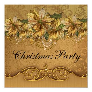 Fiesta de Navidad elegante del Poinsettia del oro Anuncio