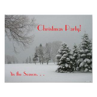 """¡Fiesta de Navidad! - Escena de la nieve del Invitación 4.25"""" X 5.5"""""""