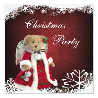 """Fiesta de Navidad festiva elegante del oso de Invitación 5.25"""" X 5.25"""""""
