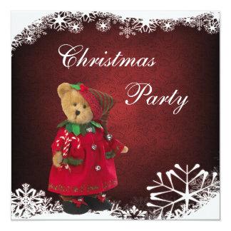 """Fiesta de Navidad festiva linda del oso de peluche Invitación 5.25"""" X 5.25"""""""