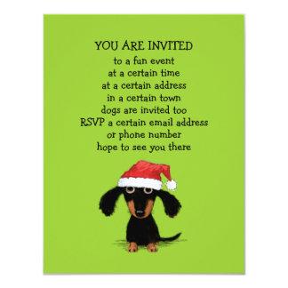 """Fiesta de Navidad linda de Papá Noel del Dachshund Invitación 4.25"""" X 5.5"""""""