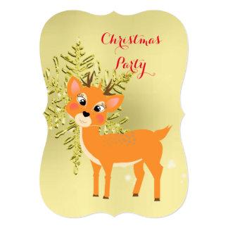 """Fiesta de Navidad linda del copo de nieve del oro Invitación 5"""" X 7"""""""