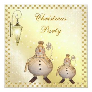 """Fiesta de Navidad linda y con clase del muñeco de Invitación 5.25"""" X 5.25"""""""
