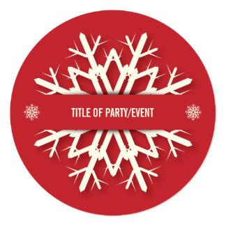 """Fiesta de Navidad moderna redonda roja del copo de Invitación 5.25"""" X 5.25"""""""