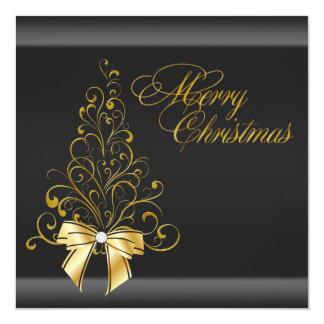 """Fiesta de Navidad negra del árbol de navidad del Invitación 5.25"""" X 5.25"""""""