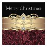 Fiesta de Navidad negra roja elegante del oro Comunicados Personalizados