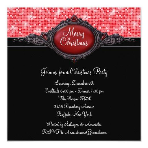 Fiesta de Navidad negra roja Invitación 13,3 Cm X 13,3cm