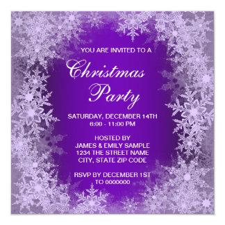 """Fiesta de Navidad púrpura elegante del copo de Invitación 5.25"""" X 5.25"""""""