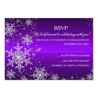 """Fiesta de Navidad púrpura RSVP del copo de nieve Invitación 3.5"""" X 5"""""""